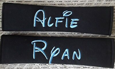 2 x Personalised seat belt pads - any names up to 8 letters.Curlz or disney font