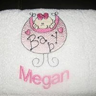 Personalised embroidered baby towels, bath size