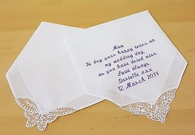 Personalised embroidered ladies hankie, choice of 2 lace, or satin stripe trims