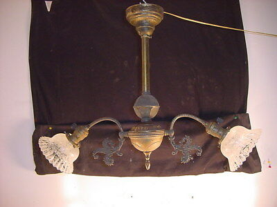 C.1890 Brass Victorian 2 Arm Electric Chandelier~Acid Etched Shades