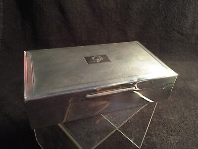 Quality SOLID STERLING SILVER ART DECO STYLE CIGARETTE BOX/CASE