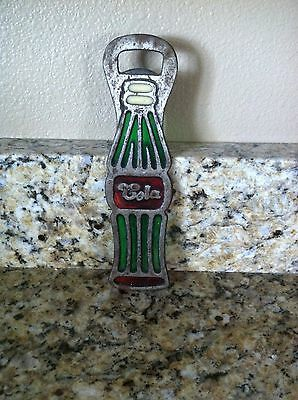 """Vintage BOTTLE OPENER Metal & Colored Glass 7.5"""" Tall Cola Opener Taiwan COOL!"""