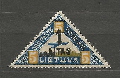 Lithuania Litauen 1922 MH Mi 186 Type III Sc 31 MH New currency Airmail Margin