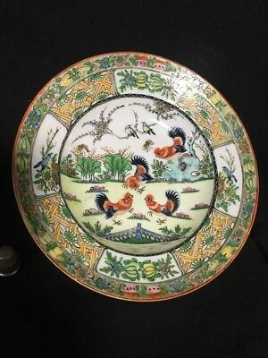 ANTIQUE CHINESE EXPORT FAMILLE ROSE early 1900 ROOSTER SOUP BOWL