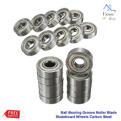 20 Ball Bearing Groove Roller Blade Skateboard Wheels Carbon Steel ABEC-5 608-ZZ