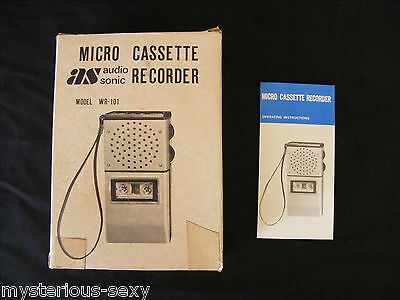 Vintage AUDIO SONIC OPERATING INSTRUCTIONS & BOX for a MICRO CASSETTE RECORDER.