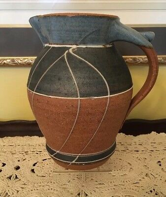 """Vintage 1984 UNIQUE hand-made Pottery PITCHER Signed 10 1/2"""" tall"""