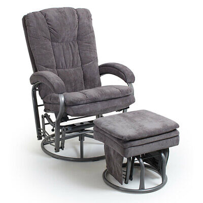 Valco Baby Wyndham Glider Grey Nursing Chair w/ Ottoman Recline/Swivel Seat