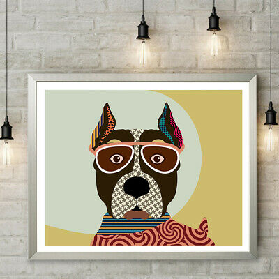 Art American Staffordshire Terrier Dog Art Print Poster AmStaff Decor Painting