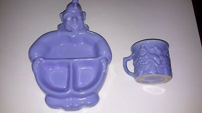 Vintage  Hankscraft  Pottery  Blue  Clown  Food  Warmer  And  Matching  Cup -