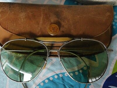 Bausch & Lomb Ww2 Pilots Sunglasses In British Made Leather Case