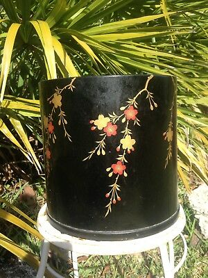 Antique Edo Period 19C Lacquered Hand Painted Japanese Hibachi Or Use As Planter