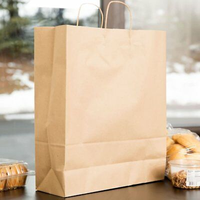 "200pcs Tempo Kraft Shopping Bag 65# Natural Kraft Paper Shoppers ,16 x 6 x 19"" ~"