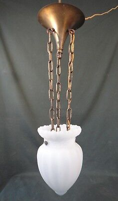 Unusual Antique Thick Milk Glass Hanging Pendant Light - Greek Key - Hall Light