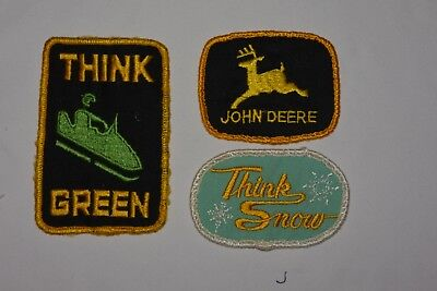 Lot Of Vintage Patches ~ John Deere Snowmobile Think Green, Think Snow, 2 Leg