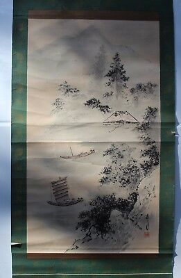 Antique, vintage Chinese hand painted watercolor scroll, landscape with boat