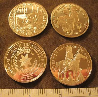 4 Native American Tribal Nations .999 silver rounds-Crow, Cherokee…..---see pics