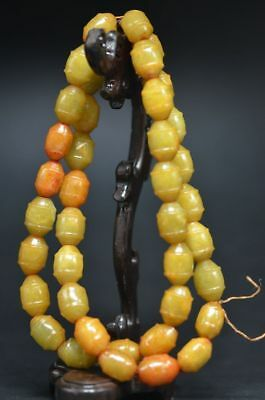 Delicate Chinese Old Jade Carved Beads Hand Woven Long Necklace