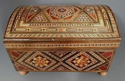 Wooden Velvet Lined Jewelry Trinket Box Wood Marquetry Parquetry Inlaid Chest