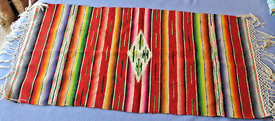 Vintage Mexican Saltillo wall hanging 1940s serape table runner striped wool