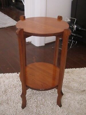 Vintage Art Deco Arts And Craft Two Tier Pedestal Plant Stand Side Table