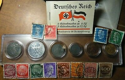 Nazi Berlin mint / SILVER 2 mark 1937 1938 1942 1922 coin set 1933 stamp booklet