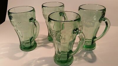 Coke Coca-Cola Glasses With Handles Green Vintage Original Heavy Green Libbey