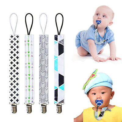4 Pack Pacifier Holder Teether Clip Baby Soother Chain Boy Binky Infant Strap US