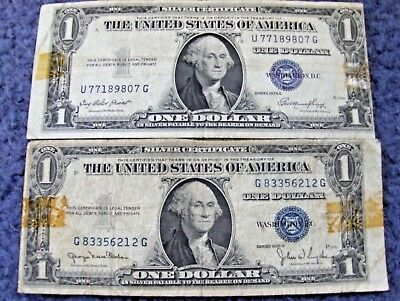 Lot Of Two 1935 U.s. One Dollar Silver Certificate Error Notes Nice Bills!