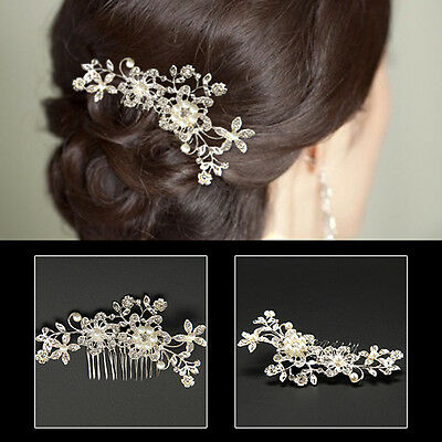 Bridal Wedding Flower Hair Clip Comb Lady Crystal Rhinestones Diamante Pearls UK