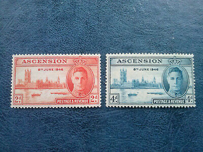 ASCENSION stamp Scott# 50-51 Mint LH KGVI Peace Issue 1946