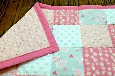 HANDMADE PINK/ WHITE/GRAY 35X44in BABY/TODDLER FLANNEL PATCHWORK QUILT GIFTIDEA