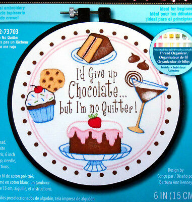 Chocolate - I'm No Quitter - Dimensions easy stamped embroidery kit with frame