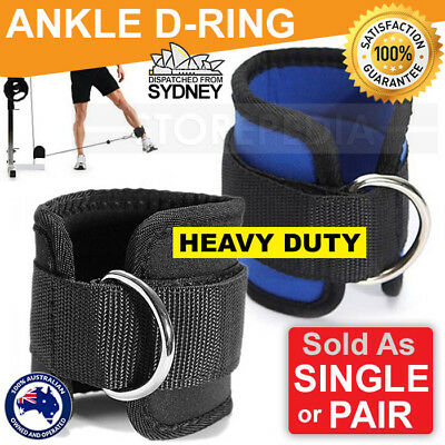 Weight Lifting Ankle D-Ring Strap Pulley Cable Kickbacks Attachment Gym Leg