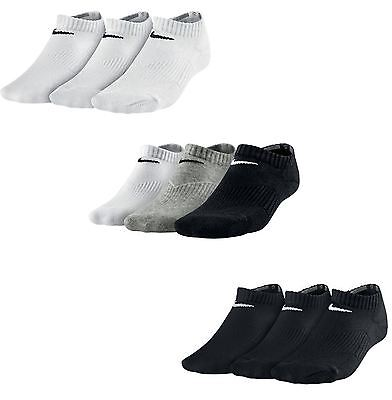 Nike Performance Cotton Cushion No-Show GS Socks 3 PPK in Grey Black & White