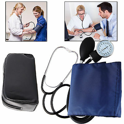 Blood Pressure Monitor Nylon Cuff Manual Sphygmomanometer Stethoscope BP Kit BY