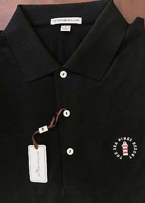 NEW Peter Millar Black The Sea Pines Resort Golf Logo Cotton Polo Shirt Size L