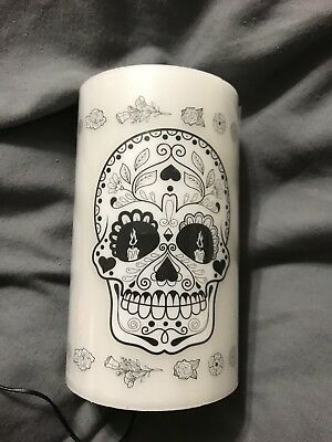 Sugar skull Day of the Dead flicker candles Brand New. 3 Pc Set Led Candle