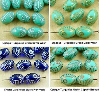8pcs Evil Eye Egyptian Revival Mediterranean Talisman Marine Fish Oval Czech Gla