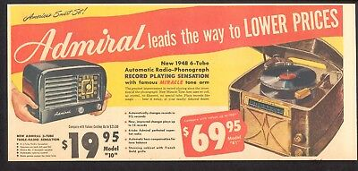 1948 - ADMIRAL Phonographs and Radios - Newspaper comic ad - Record Player