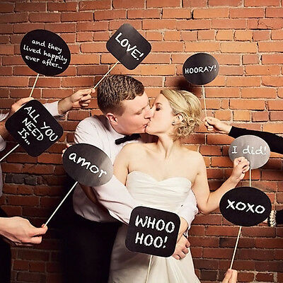 10pcs Kreidtafel Fotokabine Requisiten Fotografie Hochzeitsparty-Neu Kit Set