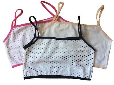 Teen Girls First Cotton Crop Top Bra, 3 Pack (mixed colour). fit 9-16yrs.