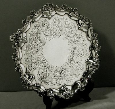Antique Victorian Sterling Salver Shell & Scroll Salver 1861 Tray Heavy A+++