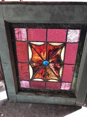 Sg 1892 Antique Stained Glass Conical Jewel Window 16 X 18.5