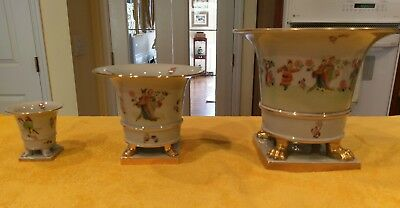 Herend Chung Vert/CSV Pattern Set 3 Urn Vases Very Bold Colors Early 20th Centur