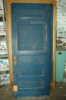 Antique Vintage Solid Wood 4 Panel & Window Exterior House Door 80x31.25""