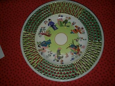 Herend Fancy Plate in Chung Vert/CSV Pattern Very Bold Colors. Hand Reticulated