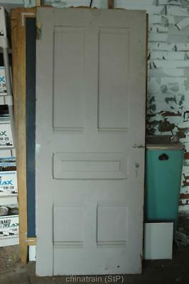 Antique Vintage Solid Wood 5 Panel House Door 83.5x33.25""