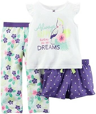 Carter's Baby Girls 3-Piece Snug Fit Cotton Pajamas - 12 Months - NEW/NWT