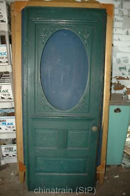 Antique Vintage Solid Wood 3 Panel & Oval Window Exterior House Door 80x31.75""